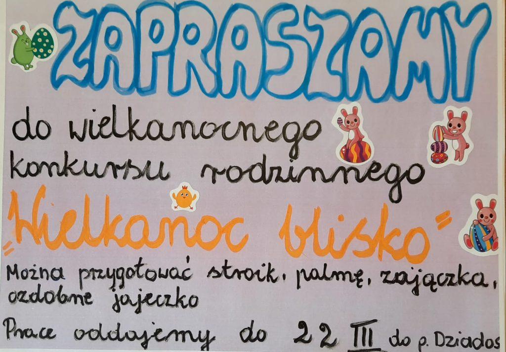 Plakat zapraszający do udziału w wielkanocnym konkursie rodzinnym.