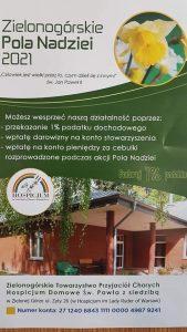 Plakat akcji Zielonogórskie Pola Nadziei 2021.
